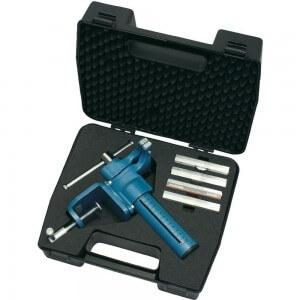 Heuer Compact Schraubstock als Kofferset mit Tischklammer und Schutzbacken-Set.