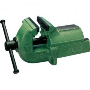 Leinen Schraubstock mit 125 mm breiten Klemmbacken und grüner Hammerschlaglackierung.