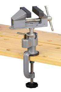 Mini Schraubstock von Meister auf Tischkante befestigt.