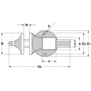 Bild mit den Abmessungen und der Funktion des Matador Schraubstocks.