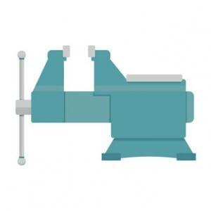 Blauer Schraubstock Aufbau und Funktion
