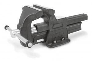 Schwarz lackierter Matador Schraubstock mit 175 mm breiten Spannbacken.
