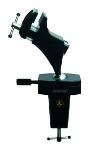 Der Bernstein Schraubstock Spannfix 9-205 ESD mit Kugelgelenk, Tischklemme und Pulverbeschichtung aus Bernstein.