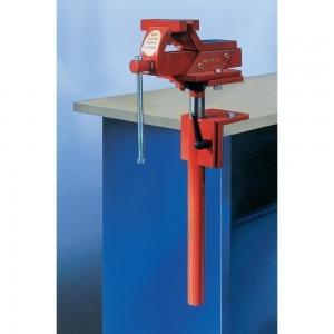 Der rote Küpper Schraubstock ist höhenverstellbar und um 360 Grad drehbar.