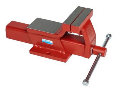 Roter Küpper Schraubstock mit 125 mm breiten Spannbacken